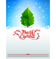 Merry christmas text tree with snow bakcground vector image