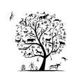 Rock paintings tree sketch for your design vector image