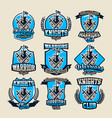 set of colorful logos emblems ancient fortress vector image
