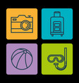 summer vacations set icons vector image