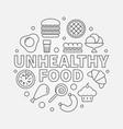 unhealthy food round junk vector image