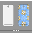 Phone Cover Big Flowers On Blue vector image