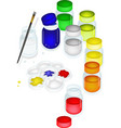 Color Paint Jars and Palette with A Brush vector image