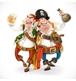 Two drunk pirates are drinking holding each other vector image