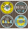christmas round banners with sale offer vector image