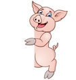 pig cartoon and blank sign vector image