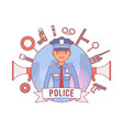 policeman and weapons poster vector image