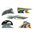 Road freeway and highway icons set vector image