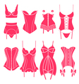 Set of vintage lingerie elements vector image