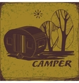Vintage Poster with Trailer Vehicles Camper Vans vector image