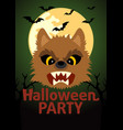 halloween party banner with werewolf vector image