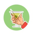 Glass of martini with olive vector image vector image