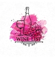 Banner hand drawn wine list vector image