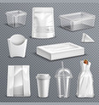 food packaging realistic transparent set vector image