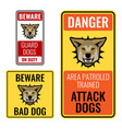 set of stickers with beware bad dog signs vector image