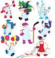 Cartoon snowman set and balloons vector image vector image