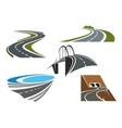 Road bridge rural highways and road tunnels vector image vector image