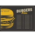 burger menu with price list vector image