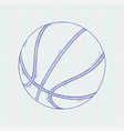 basketball ball hand drawn sketch vector image