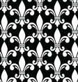 Fleur de lis symbol white pattern on black vector image