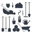 Set farm tools flat black silhouette- vector image