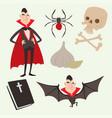 cartoon dracula coffin symbols vampire vector image