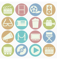 white icons movie vector image