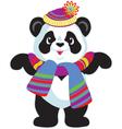 cartoon panda wearing hat vector image vector image