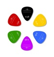 Colorful plectrums on white background design vector image