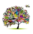 Tropical floral tree for your design vector image vector image