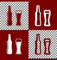 beer bottle sign bordo and white icons vector image