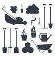 Set farm tools flat black silhouette- vector image