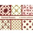 Set vintage flowers seamless pattern vector image
