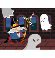 Wizard and ghosts vector image vector image