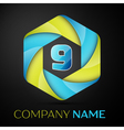 Nine number colorful logo in the hexagonal on vector image