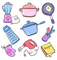 doodle of kitchen set object collection vector image