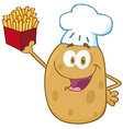 Potato Chef Holding Up A French Fries vector image vector image