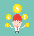 Businessman and foreign currency cartoon business vector image