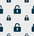 Open Padlock icon sign Seamless pattern with vector image