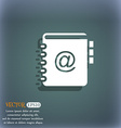 Notebook address phone book icon On the blue-green vector image