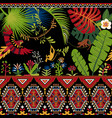 colorful decorative pattern with plants flowers vector image