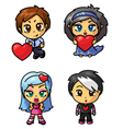 cute chibi icons set with valentine symbol part 3 vector image