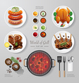 Infographic food grill bbq roast steak flat lay vector image
