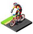 Road Cycling Cyclist Working Out 3D Flat Image vector image