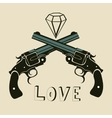 Classic revolvers and diamonds emblem vector