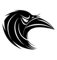 stylized black and white raven head vector image