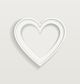White frame in heart shape on clear background vector image