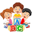 Children reading book vector image