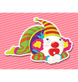 Clown wearing make up and colorful costume vector image