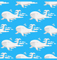 animal clouds silhouette whale seamless pattern vector image